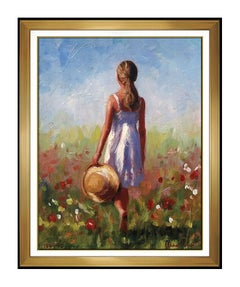 Michael Vincent Giclee On Canvas Signed Morning Meadows Artwork