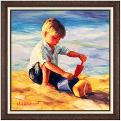 Michael Vincent Original Oil Painting On Canvas Signed Child Boy Beach Artwork