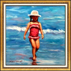 Michael Vincent Original Oil Painting On Canvas Signed Child Portrait Beach Art