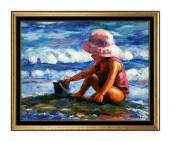 Michael Vincent Pink Hat Giclee On Canvas Signed Child Portrait