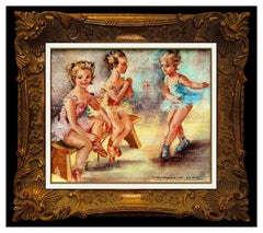Montserrat Barta Prats Original PAINTING Oil On Canvas Signed Dance Children Art