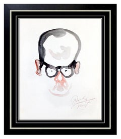 NOEL ROCKMORE Original Painting Watercolor SIGNED Male Portrait Caricature Art