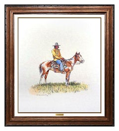 Olaf Wieghorst Original Watercolor Painting Signed Native American Western Horse