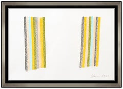 Gene Davis Original Oil Pastel Drawing Vertical Stripes Lines Signed Modern Art