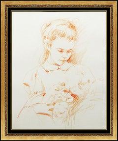 Pino Daeni Original Drawing Signed Child Portrait Floral Bouquet Framed Artwork