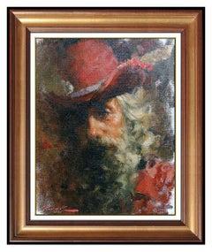 Ramon Kelley Oil Painting on Canvas Original Signed Male Portrait Framed Rare