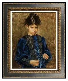 Ramon Kelley Original Oil Painting on Canvas Signed Child Portrait Framed Art