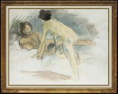 Raphael Soyer Original Watercolor Painting Signed Nude Female Illustration Art