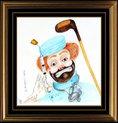 RED SKELTON Original Freddie Clown Pastel Drawing On Linen Painting Signed Art