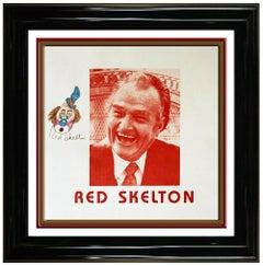 Red Skelton Original Pastel Drawing Freddie Clown Self Portrait Signed Painting