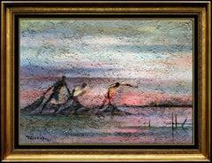 Romeo Tabuena Original Oil Painting On Board Signed Seascape Portrait Artwork