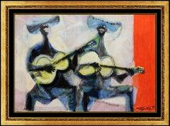 Romeo Tabuena Original Painting Oil On Board Signed Music Portrait Framed Art