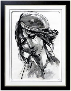 Ruth Schloss Original Acrylic Painting Signed Female Portrait Artwork Authentic