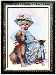 Tony Crosse Original Oil Painting On Canvas Signed Child Portrait Framed Artwork