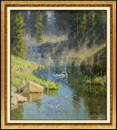 Wayne Wolfe Original Oil Painting On Board Landscape Swan Wildlife Signed Art