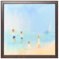 Darlene Cole Original Oil Painting on Canvas Signed Large Children Landscape Art