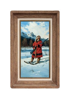GERRY METZ Original Oil Painting On Board Signed Western Art Winter Scene FRAMED