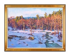 Scott Moore Original Painting Large Oil On Canvas Signed River Winter Maine Art
