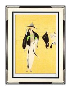 Erte Large Color Haute Couture Serigraph Signed Art Deco Romain Tirtoff Fashion