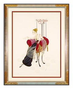 Erte Large Embossed Serigraph Lilies Lace Signed Ballet Costume Design Art Deco