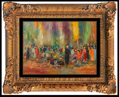 Michel Rostand RARE Oil Painting On Board Authentic Original Signed Music Art