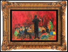 Michel Rostand Oil Painting On Board Original Signed Orchestra Musicians Artwork