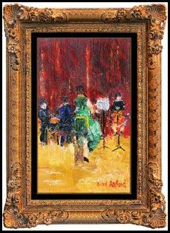 Michel Rostand Oil Painting On Board Original Signed Musicians Framed Artwork