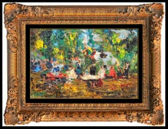 Michel Rostand Original Oil Painting On Board Authentic Signed Orchestra Artwork