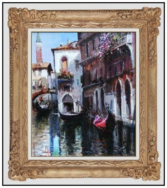 Claudio Simonetti Original Painting Oil On Canvas Venice Italy Signed Cityscape