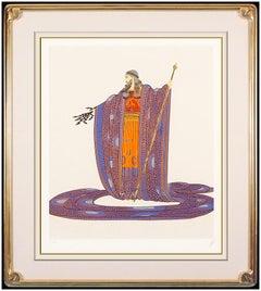 Erte Zeus Embossed Color Serigraph Hand Signed Deco Artwork Hera Romain Tirtoff