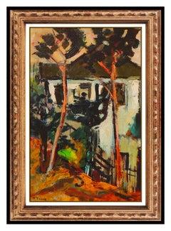 Robert Aaron Frame Original Painting Oil on Canvas Landscape Signed Framed Art