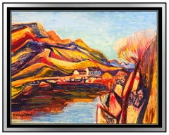 Bruno Krauskopf Original Gouache Painting Signed Landscape Authentic Framed Art
