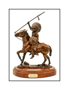 Robert Broshears Sioux Warrior Bronze Sculpture Signed Native American Horse Art