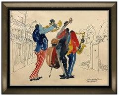 Leo Meiersdorff Original Watercolor Painting New Orleans Music Portrait Signed