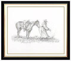 Olaf Wieghorst Original Ink Drawing Horse Western Portrait Illustration Signed