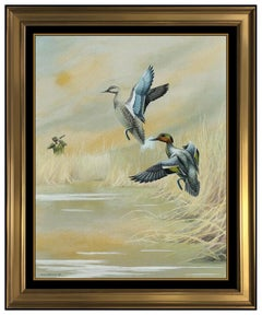 Harry Adamson Gouache Painting On Board Wildlife Teal Ducks Signed Landscape Art
