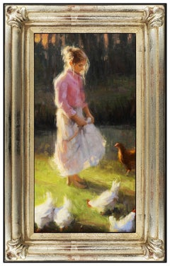 Bryce Liston Oil Painting on Board Original Signed Child Portrait Framed Artwork