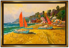Ming Feng Large Original Oil On Canvas Signed Beach Landscape Waterfront Artwork