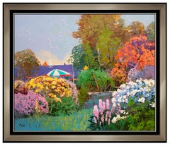 Ming Feng Original Painting Oil On Canvas Signed Beach Landscape Flower Garden