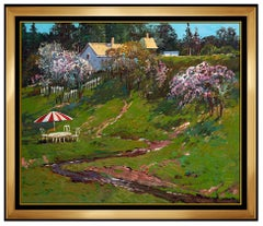 Ming Feng Original Painting On Canvas Signed Landscape Floral Framed Artwork SBO