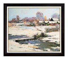 Ming Feng Original Oil Painting On Canvas Signed Winter Landscape Framed Artwork