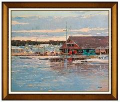 Ming Feng Original Oil On Canvas Painting Signed New England Harbor Framed Art