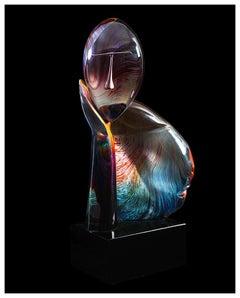 Dino Rosin Large Original Murano Glass Sculpture The Thinker Figurative Artwork