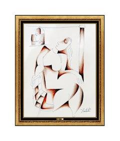 Alexandra Nechita Original Drawing Signed Cubism Portrait Petite Picasso Artwork
