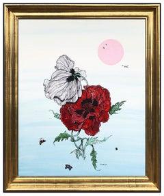 Fleur Cowles Original Flower Still Life Painting Oil On Board Signed Framed Art