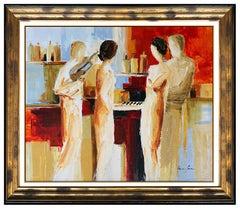 Adriana Naveh Original Painting Acrylic On Canvas Female Portrait Large Artwork