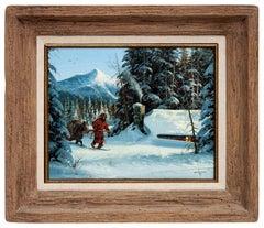 GERRY METZ Original OIL PAINTING On Board Signed Winter Scene Western Art FRAMED
