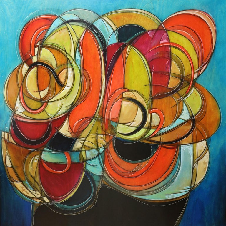 A Look Back To Forward Abstract Painting On Panel Bright Colors Organic Shape