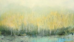 Sylvan Stirring (Diffused light abstract landscape with trees oil on panel)