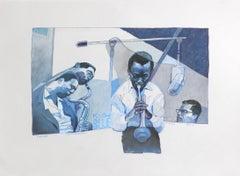 Kind of Blue (Pastel on paper of Jazz musicians Miles Davis, John Coltrane)